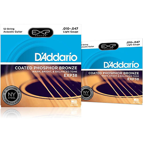 D'Addario EXP38 12-String Coated Phosphor Bronze Light Acoustic Guitar Strings 2-Pack-thumbnail