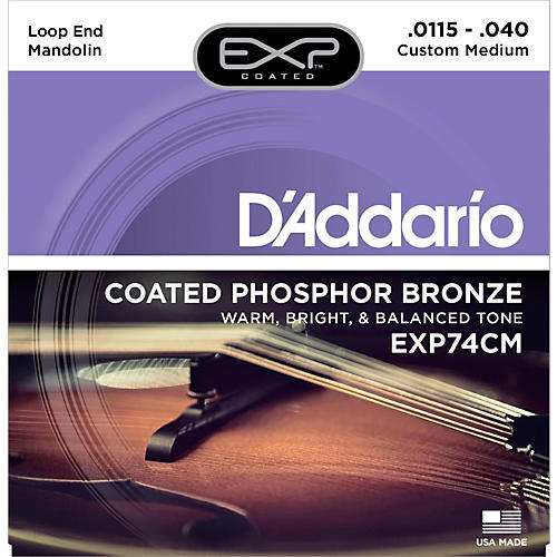 D'Addario EXP74CM Coated Phosphor Bronze Custom Medium Mandolin Strings (11.5-40)-thumbnail