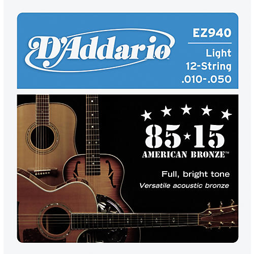 D'Addario EZ940 12-String 85/15 Great American Bronze Light Acoustic Guitar Strings