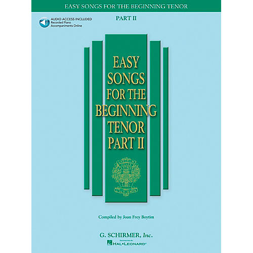 G. Schirmer Easy Songs for The Beginning for Tenor Voice Part II Book/CD