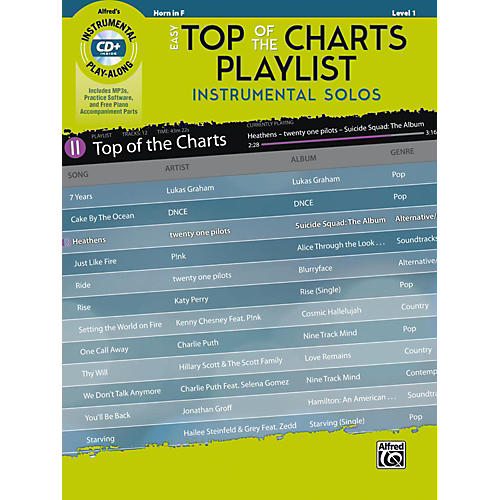 Alfred Easy Top of the Charts Playlist Instrumental Solos Horn in F Book & CD Level 1
