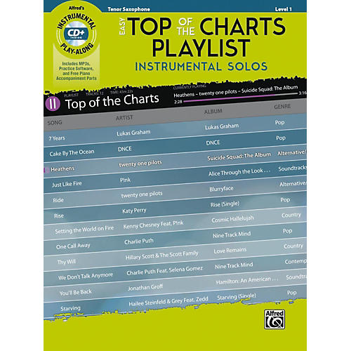 Alfred Easy Top of the Charts Playlist Instrumental Solos Tenor Sax Book & CD Level 1-thumbnail