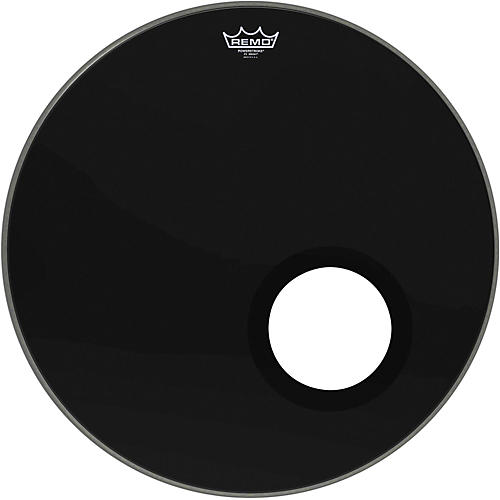 Remo Ebony Powerstroke 3 Resonant Bass Drum Head with 5 Inch Port Hole Ebony 22 in.