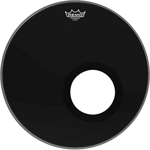 Remo Ebony Powerstroke 3 Resonant Bass Drumhead with 5 Inch Port Hole