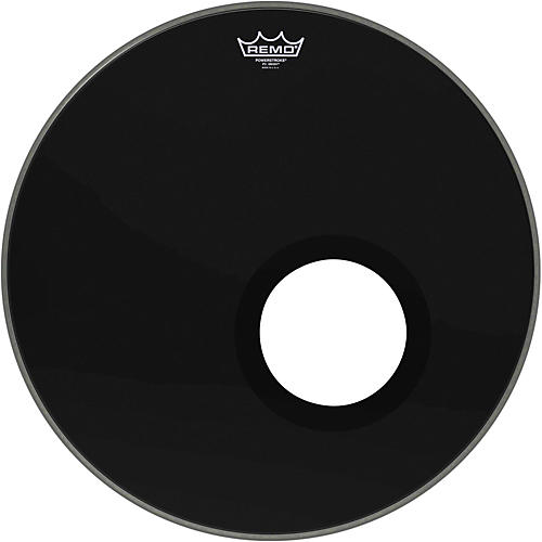Remo Ebony Powerstroke 3 Resonant Bass Drumhead with 5 Inch Port Hole-thumbnail