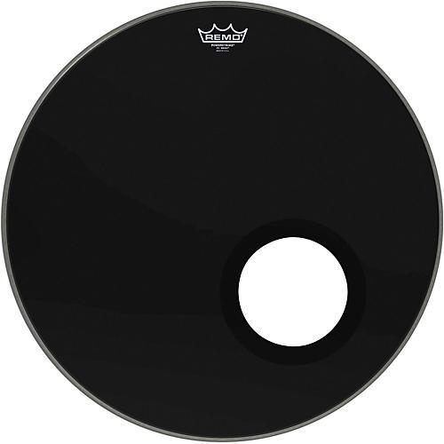 Remo Ebony Powerstroke 3 Resonant Bass Drumhead with 5 Inch Port Hole Ebony 22 in.-thumbnail