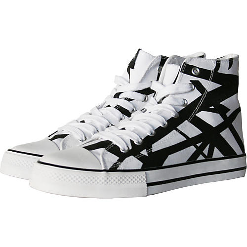 EVH Eddie Van Halen High Top Sneakers - White with Black Stripes