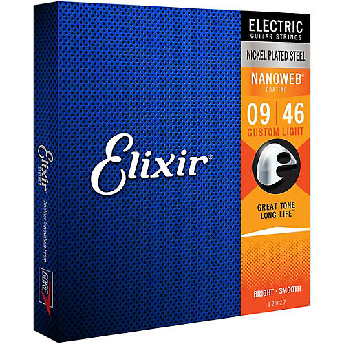 Elixir Electric Guitar Strings with NANOWEB Coating, Custom Light (.009-.046)