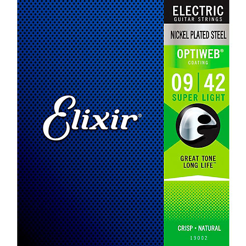Elixir Electric Guitar Strings with OPTIWEB Coating, Super Light (.009-.042)