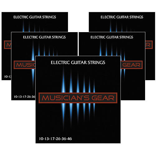 Musician's Gear Electric Nickel Plated Steel Guitar Strings 10-46 - 5-Pack-thumbnail
