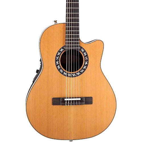 Ovation Elite AX Mid-Depth Cutaway Acoustic-Electric Nylon String Guitar-thumbnail