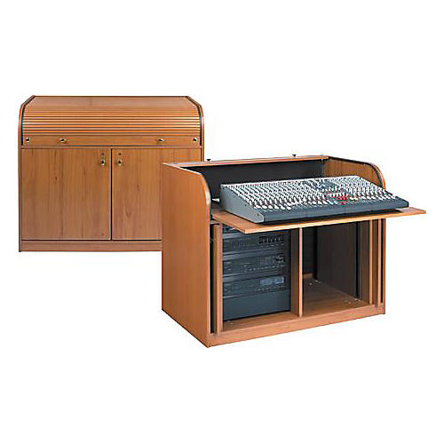 Raxxess Elite Roll-Top Rack Mixing Desk Cherry