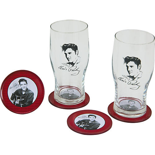 Vandor Elvis Glass and Tin Coaster Set