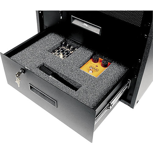 Music Accessories Enclosed Locking 3-Space Rack Drawer with Rack Drawer Foam Insert