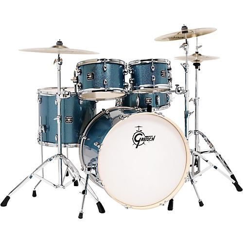 gretsch drums energy 5 piece drum set blue sparkle with hardware and zildjian cymbals guitar. Black Bedroom Furniture Sets. Home Design Ideas