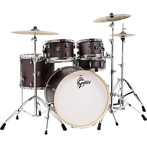 gretsch drums energy 5 piece drum set brushed grey with hardware and zildjian cymbals guitar. Black Bedroom Furniture Sets. Home Design Ideas
