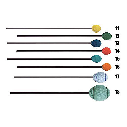 Mike Balter Ensemble Series Black Birch Marimba Mallets 17 Light Blue Yarn Extra Soft