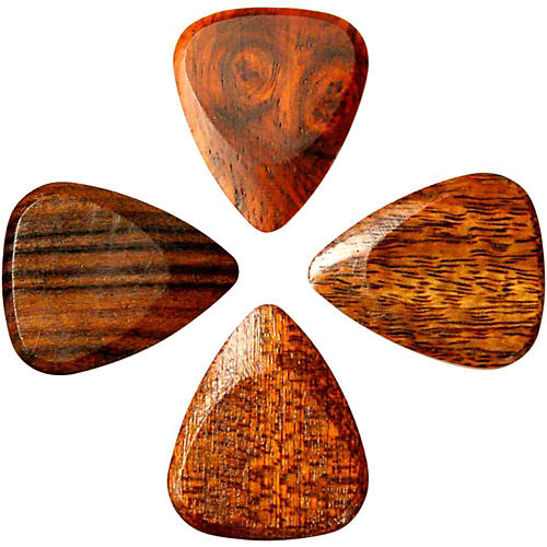 U.S. Blues Exotic Wood Picks - Acoustic Sampler of 4 Guitar Picks