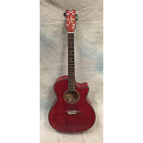 In Store Used Exotica Plus Solid Top Trans Red Acoustic Electric Guitar-thumbnail
