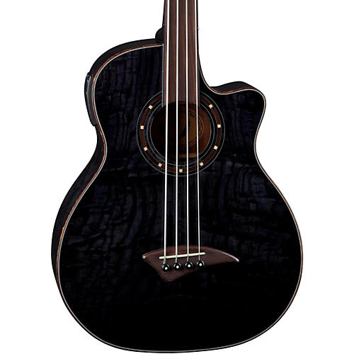Dean Exotica Quilt Fretless Acoustic-Electric Bass Transparent Black
