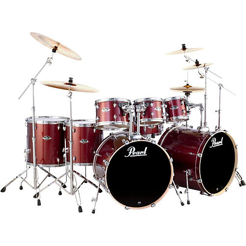 Pearl Export Double Bass 8-Piece Drum Set Black Cherry Glitter