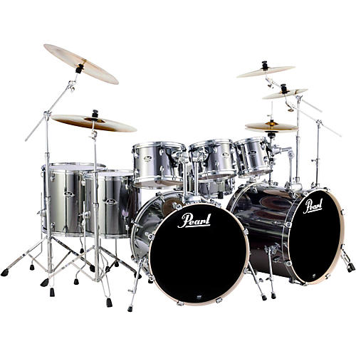 pearl export double bass 8 piece drum set smokey chrome guitar center. Black Bedroom Furniture Sets. Home Design Ideas