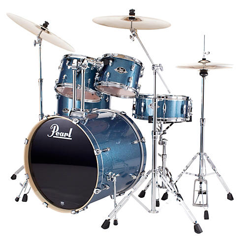 pearl export fusion 5 piece drum set with hardware aqua blue glitter guitar center. Black Bedroom Furniture Sets. Home Design Ideas
