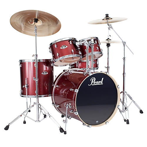 pearl export fusion 5 piece drum set with hardware black cherry glitter guitar center. Black Bedroom Furniture Sets. Home Design Ideas