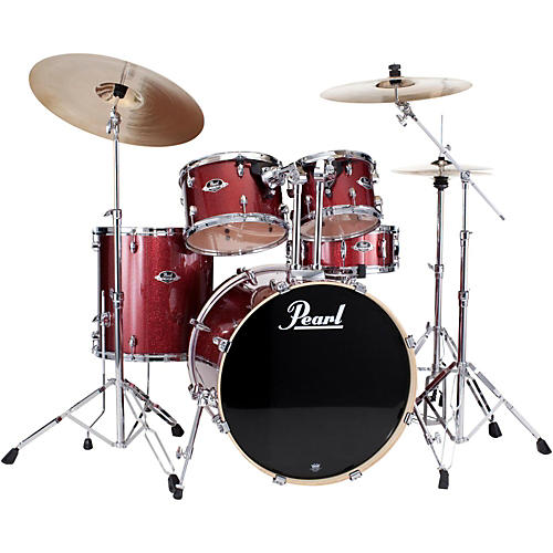 Pearl Export New Fusion 5-Piece Drum Set with Hardware Black Cherry Glitter