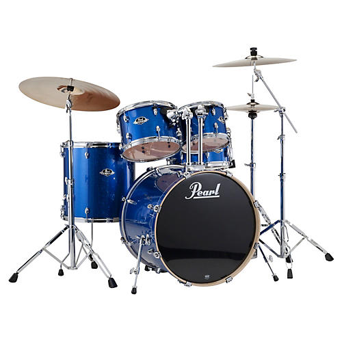 Pearl Export New Fusion 5-Piece Drum Set with Hardware Electric Blue Sparkle