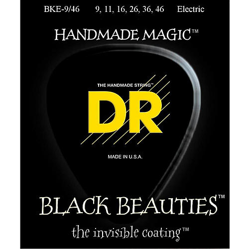 DR Strings Extra Life BKE-9/46 Black Beauties Lite-n-Heavy Coated Electric Guitar Strings-thumbnail