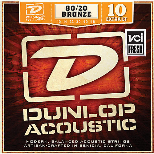 Dunlop Extra Light 80/20 Bronze Acoustic Guitar Strings