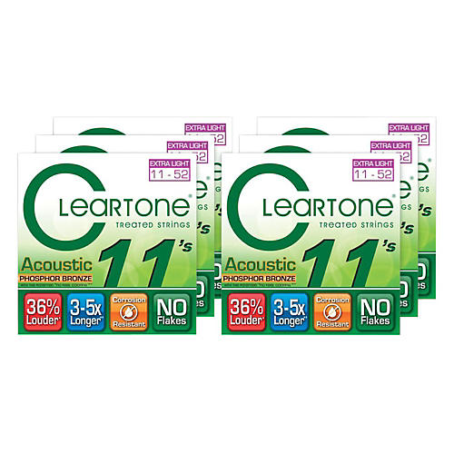 Cleartone Extra Light Acoustic Guitar Strings 6 Pack