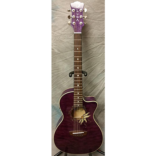 In Store Used FLO PF QM Trans Purple Acoustic Electric Guitar-thumbnail
