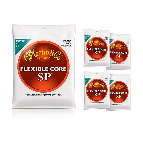 Martin FX130 Silk and Phosphor Acoustic Guitar Strings 5-Pack