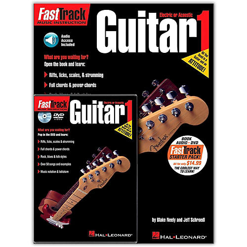 Hal Leonard FastTrack Guitar Method Starter Pack - Includes Book/CD/DVD