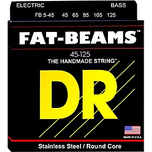DR Strings Fat-Beams Stainless Steel Medium 5 String Bass Strings 45-125 by DR Strings