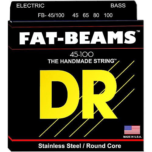 DR Strings Fat-Beams Stainless Steel Medium-Lite 4-String Bass Strings (45-100)-thumbnail