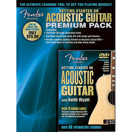 Hal Leonard Fender Presents Getting Started On Acoustic Guitar Premium Pack Book/CD/DVD-thumbnail