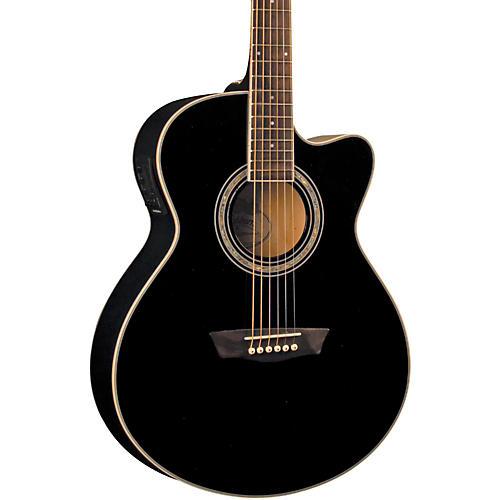 Washburn Festival EA12B Acoustic Cutaway Electric Mini Jumbo Guitar With 4-Band EQ Black