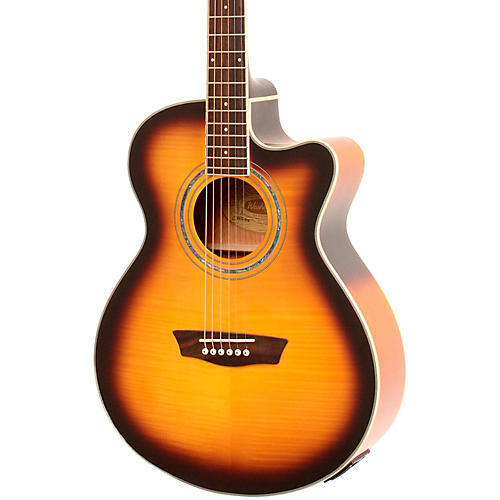 Washburn Festival EA15A Spruce Top With Flame Maple Veneer Acoustic Cutaway Electric Guitar With 4-Band EQ