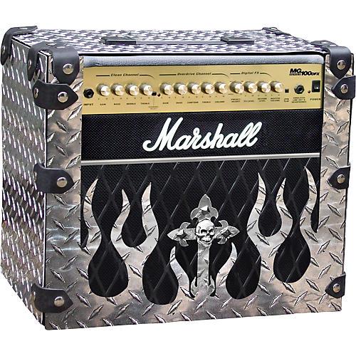 Amp Armor Flame and Skull Diamond Plate Amp Housing for Marshall MG100-thumbnail