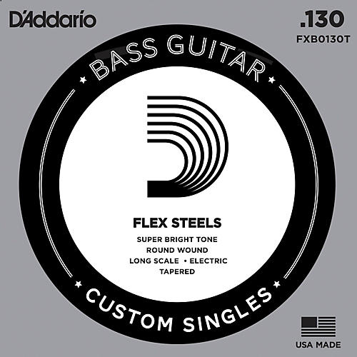 D'Addario FlexSteel Long Scale Tapered Single Bass Guitar String (.130)