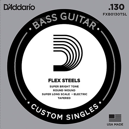 D'Addario FlexSteel Super Long Scale Tapered Single Bass Guitar String (.130)-thumbnail