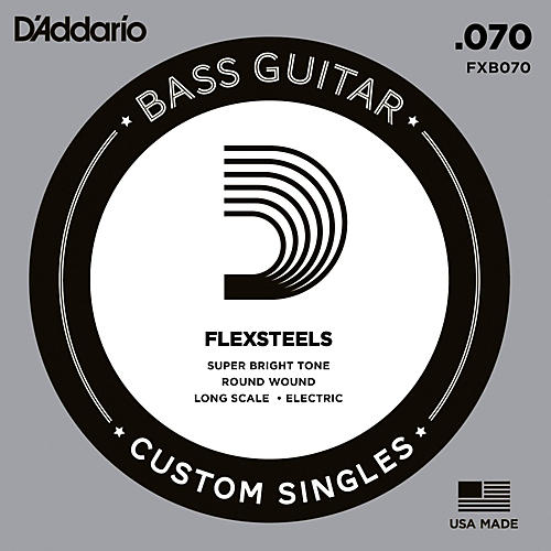 D'Addario FlexSteels Long Scale Bass Guitar Single String (.070)-thumbnail