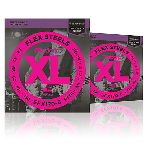 D'Addario FlexSteels Long Scale Bass Strings (32-130) 6-String - 2-Pack-thumbnail