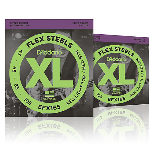 D'Addario FlexSteels Long Scale Bass Strings (45-105) - 2-Pack