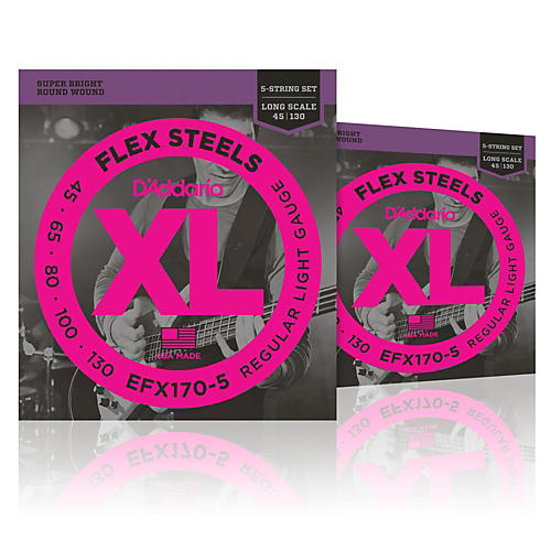 D'Addario FlexSteels Long Scale Bass Strings (45-130) 5-String - 2-Pack