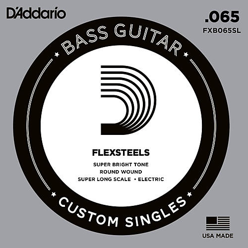 D'Addario FlexSteels Super Long Scale Bass Guitar Single String (.065)