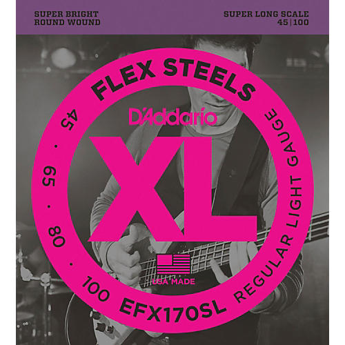 D'Addario Flexsteels Super Long Scale Bass Guitar Strings (45-100)-thumbnail